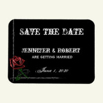 Gothic Barbed Wire and Rose Save the Date Magnet