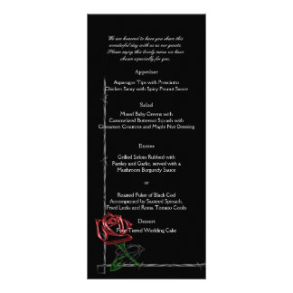 Gothic Barbed Wire and Rose Wedding Menu