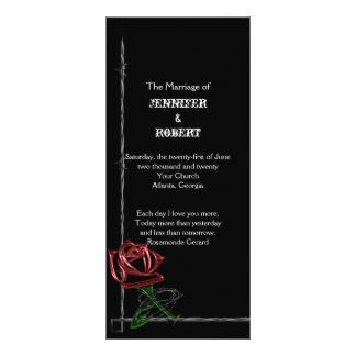 Gothic Barbed Wire and Rose Wedding Program
