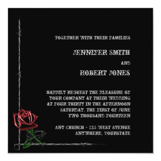 Gothic Barbed Wire Rose Wedding Invitation