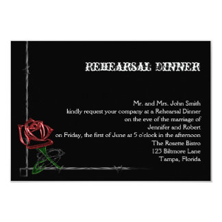 Gothic Barbed Wire Rose Wedding Rehearsal Dinner Card