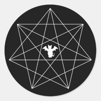 Gothic Bat Cat Heptagram Star Classic Round Sticker