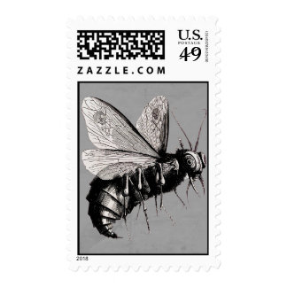 Gothic Bee Skull Wings Postage Stamp