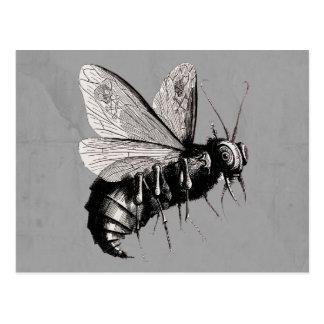 Gothic Bee Skull Wings Postcard