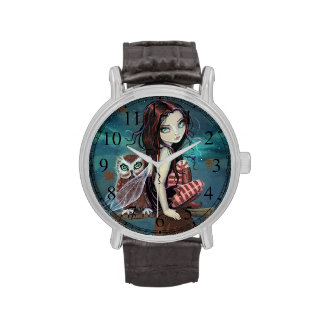 Gothic Big-Eye Fairy and Owl Fantasy Art Wristwatches