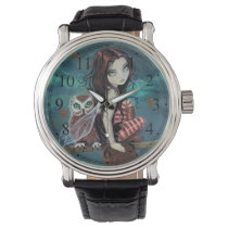 Gothic Big-Eye Fairy and Owl Fantasy Art Wristwatch