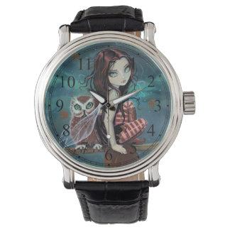 Gothic Big-Eye Fairy and Owl Fantasy Art Wristwatch