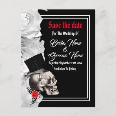 Gothic biker or rock black wedding save the date announcement postcard