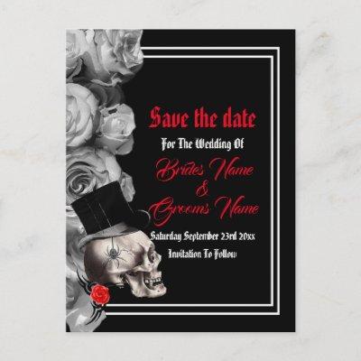 Gothic, biker or rock black wedding save the date announcement postcard