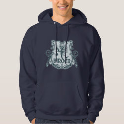 Men's Basic Hooded Sweatshirt with Gothic Birder Shield design