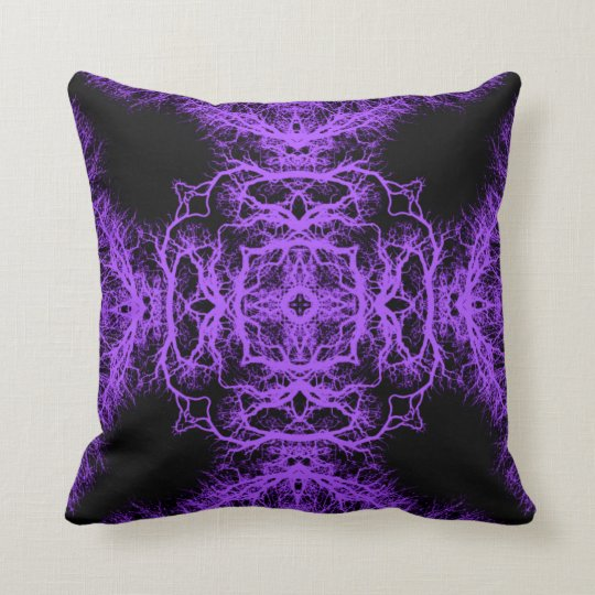 Gothic Black and Purple Design. Throw Pillow