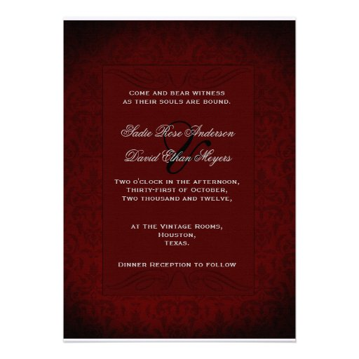 """Black And Red Wedding Invitations: Gothic Black And Red Wedding Invitation 5"""" X 7"""" Invitation"""