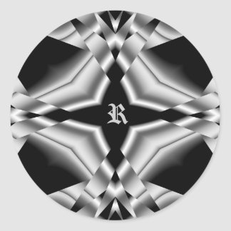 Gothic black and silver for your monogram R Classic Round Sticker