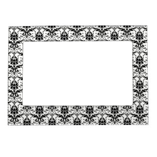 GOTHIC Black And White Damask Pattern Magnetic Photo Frame