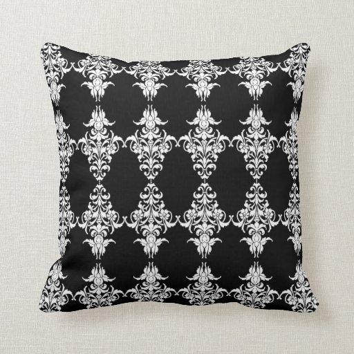 Damask Throw Pillows Black White : Gothic Black and White Damask Pattern Throw Pillow Zazzle
