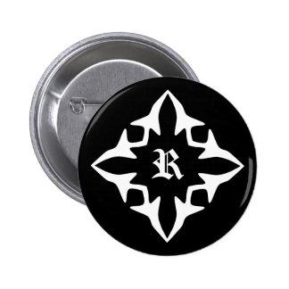 Gothic black and white elegant monogram pinback button