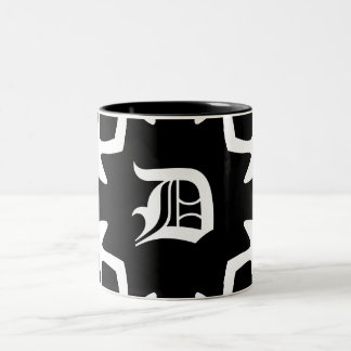 Gothic black and white elegant monogram Two-Tone coffee mug