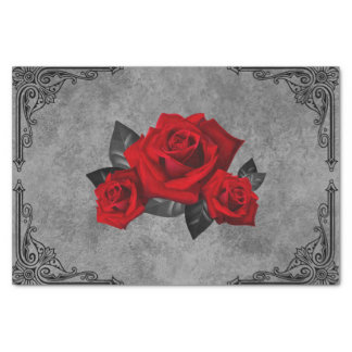 Gothic Black and White Rose Tissue Paper