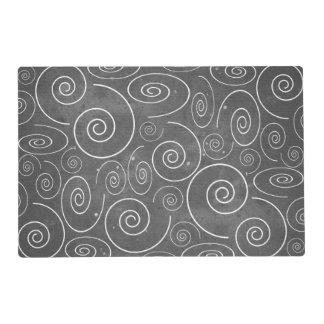 Gothic Black and White Swirls Spirals Placemat