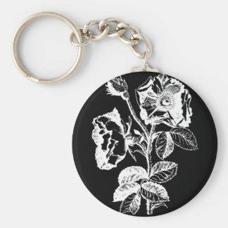 Gothic Black Antique Rose Keychain