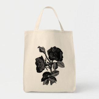 Gothic Black Antique Rose Tote Bag