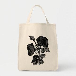 Gothic Black Antique Rose Tote Bag