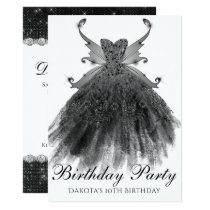 Gothic Black Birthday Party Gown Pixie Wings Card