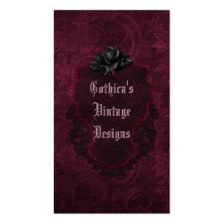 Gothic Black Burgundy Damask Blood Rose Business Card