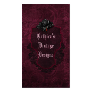 Gothic Black Burgundy Damask Blood Rose Double-Sided Standard Business Cards (Pack Of 100)