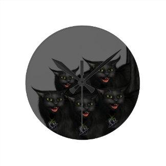 Gothic Black Cat Clock