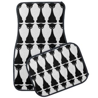 Gothic black cat silhouette car mat set