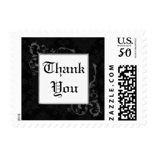 Gothic Black & Charcoal Damask Thank You Postage