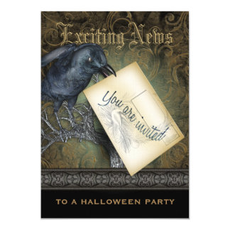 Gothic Black Crow Large 5x7 Paper Invitation Card
