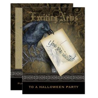 Gothic Black Crow Medium Invitation