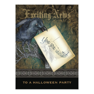 Gothic Black Crow XXL Personalized Invitations