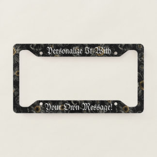 Gothic Black Daisies Personalized License Plate Frame