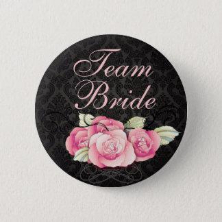 Gothic Black damask pink rose bridal shower Button