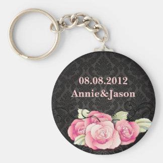 Gothic Black damask pink rose bridal shower Keychain
