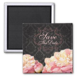 Gothic Black damask pink rose bridal shower Magnet