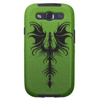 Gothic Black Dragon on Green Galaxy SIII Cases