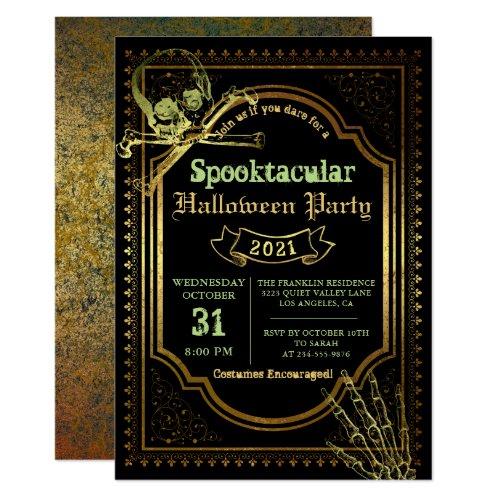 Gothic Black  Gold Skull Halloween Costume Party Invitation