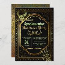 Gothic Black & Gold Skull Halloween Costume Party Invitation