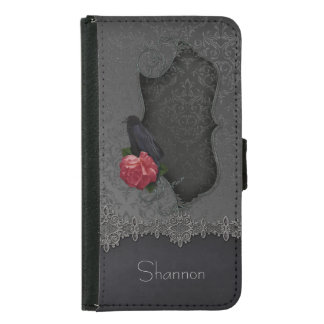 Gothic Black Gray Damask Lace Black Raven Red Rose Wallet Phone Case For Samsung Galaxy S5