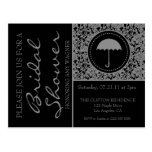 Gothic Black & Grey Flourish Bridal Shower Postcard
