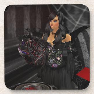 Gothic Black Heart Coasters