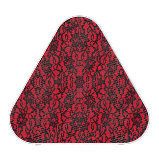 Gothic Black Lace on Red Print Bluetooth Speaker