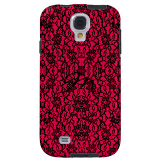 Gothic Black Lace on Rich Red Galaxy S4 Case
