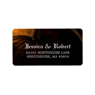 Gothic Black & Orange Halloween Wedding Address
