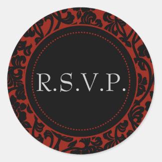 Gothic Black & Red Flourish Envelope Seals Classic Round Sticker