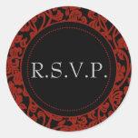 Gothic Black & Red Flourish Envelope Seals Round Sticker